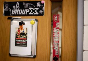 Fitness Coordinator and manager at St. Cloud State University decorates her door with upcoming fitness events. (Photo/Chelsea Bauman)