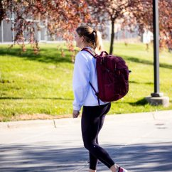 SCSU student Leah Uselmann walks to class on October 23, 2018, at St. Cloud State Minn. (Photo/Chelsea Bauman)