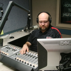 Jim Gray at work inside of the production studio at KVSC, a student run radio station on the campus of SCSU, located in Stewart Hall, on the campus of St. Cloud State University, in St. Cloud, Minn., Wednesday, Sep. 26, 2018. (Photo/AJ Fredrickson)