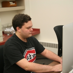 Lagos typing an article on the most recent SCSU sporting event, covering for the Chronicle, located in Stewart Hall, on the campus of St. Cloud State University, in St. Cloud, Minn., Wednesday, Sep. 26, 2018. (Photo/AJ Fredrickson)