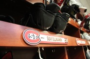 Suvi Ollikainen's name plate in the women's hockey locker room in St. Cloud, Minn., Saturday, Nov. 17, 2018. (Photo/Janine Alder)