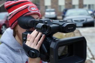 Lindsey Paulsen filming with a Panasonic 4k camera for a project, located in St. Cloud, Minn., Tuesday, Oct. 30, 2018. (Photo/Taylor Ritenour)
