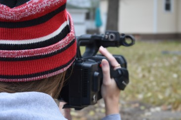 Lindsey Paulsen uses a Panasonic 4k camera to film low shots, located in St. Cloud, Minn., Tuesday, Oct. 30, 2018. (Photo/Taylor Ritenour)